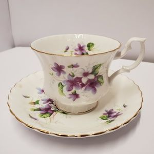 Royal Albert Purple flower Tea cup and saucer